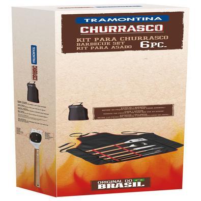 Kit para Churrasco Tramontina em Aço Inox e Madeira com Estojo/Avental de Nylon 6 Peças Tramontina
