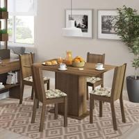 Conjunto Sala de Jantar, Madesa, Lexy, Mesa Tampo de Madeira com 4 Cadeiras Rustic/Floral Lírio Bege