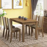 Conjunto Sala de Jantar, Madesa, Bea, Mesa Tampo de Madeira com 4 Cadeiras, Rustic/Crema/Bege Marrom