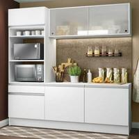 Cozinha Compacta Madesa Topazio com Balcão e Tampo Branco Cor:Branco