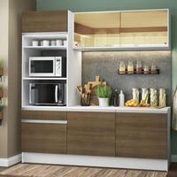 Cozinha Compacta Madesa Diamante com Armário, Balcão e Tampo Branco/Rustic Cor:Branco/Rustic