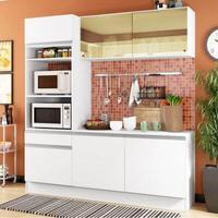 Cozinha Compacta Madesa Diamante com Armário, Balcão e Tampo Branco Cor:Branco