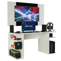 Mesa Gamer Madesa 9409 e Painel para TV até 58 Polegadas, Branco