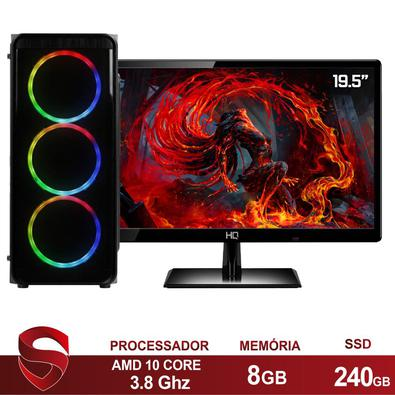 Computador Gamer Completo AMD 10-Core, CPU 3.8Ghz 8GB, Radeon R5 2GB, SSD 240GB, Skill Monitor HDMI LED 19.5