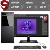 "Computador Skill Graphics Completo, Ryzen 5 3400G 4.2GHz, 4GB DDR4, SSD 480GB com Monitor HDMI 21.5"""