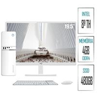 "Computador PC Intel 8ª Geração 4GB, DDR4, SSD 480GB, Intel UHD 610, Monitor LED Branco 19.5"", HDMI,  Skill SlimPC"