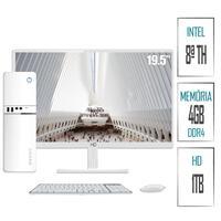 Computador Skill SlimPC Intel G4930 8ª Geração, 4GB, DDR4, HD 1TB,  Intel UHD 610, Monitor 19.5´, LED, HDMI, Branco