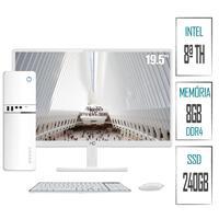 Computador PC Intel 8ª Geração 8GB DDR4 SSD 240GB (Placa de vídeo Intel UHD 610) Monitor LED Branco 19.5´´ HDMI  Skill SlimPC