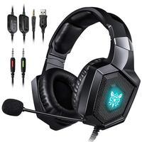 Headset Gamer Onikuma K8 RGB com Microfone, Compatível com PS4, Xbox One e Celular, Preto
