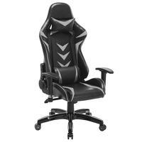 Cadeira Gamer Pelegrin em Couro Pu, Reclinável, Suporta até 150Kg, Preta e Cinza - Pel-3003