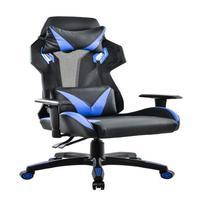 Cadeira Gamer Pelegrin em Couro Pu, Reclinável, Suporta até 150Kg, Preta e Azul - Pel-3014