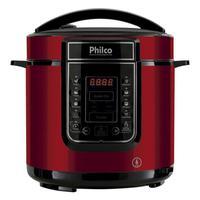Panela de Pressão Elétrica Philco, 1000W, 6L, 110V, Inox Vermelho - PPPV01
