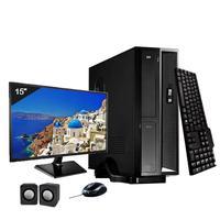 Mini Computador ICC I5 8gb HD 120GB SSD DVDRW Kit Multimídia Monitor 15 Windows 10