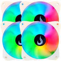 Kit com 4 Cooler Fan Rise Mode Led Rgb, 120mm, Branco - Rm-mb-02-12