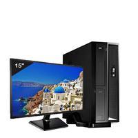 Mini Computador Icc Dual Core 4gb HD 500gb Dvdrw Monitor 15 Windows 10