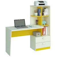Escrivaninha Elisa com 2 Gavetas e Prateleiras Permobili, Branco/Amarelo