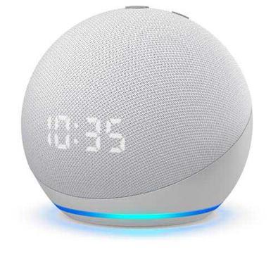 Echo Dot  Quarta Geração Smart Speaker Amazon Com Relógio E Alexa Branco