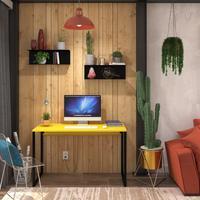Mesa Em Metal Com Tampo De Aço Colorido   Tam: 80x60   Cor: Amarelo E Preto