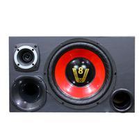 Caixa de Som Trio Falante 12 Radio Bluetooth Usb Modulo Taramps Kit Radio Compet Vermelha
