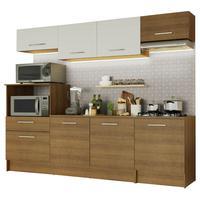 Cozinha Completa Madesa Onix 240002 com Armario e Balcão Rustic/Branco 5Z6E Cor:Rustic/Rustic/Branco