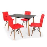 Kit Mesa Jantar Eiffel 120x80 Preta + 4 Cadeiras Eiffel Gomos Estofada - Vermelha