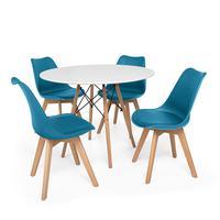 Kit Mesa Jantar Eiffel 80cm Branca + 04 Cadeiras Leda - Turquesa