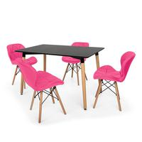 Kit Mesa Jantar Eiffel 120x80cm Preta + 04 Cadeiras Slim - Rosa