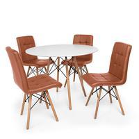Kit Mesa Jantar Eiffel 80cm Branca + 04 Cadeiras Gomos - Marrom