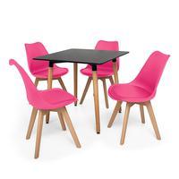 Kit Mesa Jantar Eiffel 80x80 Preta + 04 Cadeiras Leda - Rosa