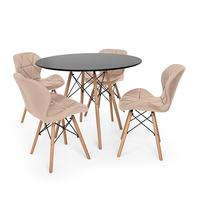 Kit Mesa Jantar Eiffel 100cm Preta + 04 Cadeiras Slim - Nude