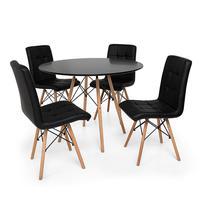 Kit Mesa Jantar Eiffel 100cm Preta + 04 Cadeiras Gomos - Preta
