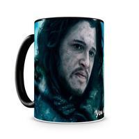Caneca Game Of Thrones Jon Snow Wolf Black