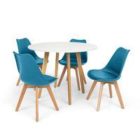 Conjunto Mesa De Jantar Laura 100cm Branca Com 4 Cadeiras Eames Wood Leda - Turquesa