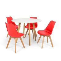Conjunto Mesa De Jantar Laura 100cm Branca Com 4 Cadeiras Eames Wood Leda - Vermelha