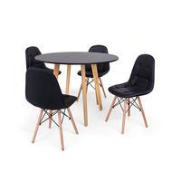 Conjunto Mesa De Jantar Laura 100cm Preta Com 4 Cadeiras Charles Eames Botonê - Preta