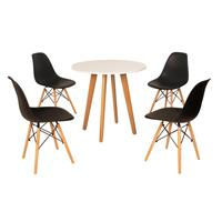 Mesa Laura 80cm Branca + 4 Cadeiras Eames Eiffel - Preta