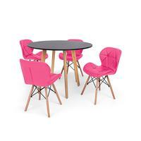 Conjunto Mesa De Jantar Laura 100cm Preta Com 4 Cadeiras Eames Eiffel Slim - Rosa
