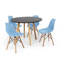 Conjunto Mesa De Jantar Laura 100cm Preta Com 4 Cadeiras Charles Eames - Azul Claro