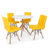 Conjunto Mesa De Jantar Maitê 80cm Branca Com 4 Cadeiras Eiffel Gomos - Amarela