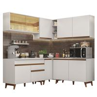 Cozinha Completa de Canto Madesa Reims 382001 com Armário e Balcão Branco Cor:Branco