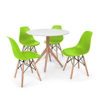 Conjunto Mesa De Jantar Maitê 80cm Branca Com 4 Cadeiras Charles Eames - Verde