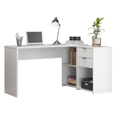 Mesa De Canto Escrivaninha Em L Notavel Com 2 Gavetas 3 Portas Para Escritorio Branco