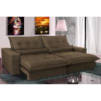 Sofa Retrátil E Reclinável 2,12m Com Molas Ensacadas Cama Inbox Soft Tecido Suede Café
