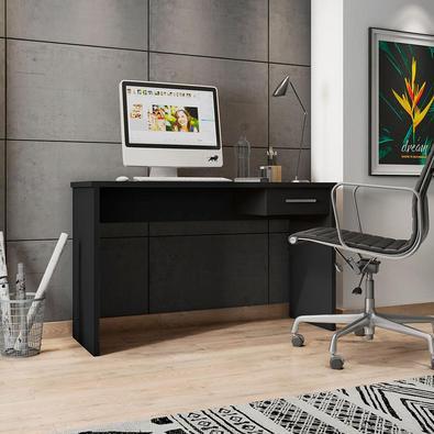 Mesa Para Escritório Home Office Com Gaveta Emma Preto Texturizado - Gran Belo