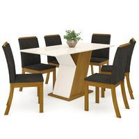 Conjunto Sala De Jantar Mesa Tampo Mdf 6 Cadeiras Kesha Casa 812