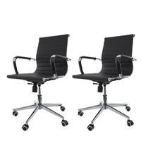 Kit 2 Cadeiras De Escritório Diretor Charles Eames Eiffel Preta