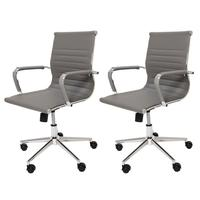 Kit 2 Cadeiras De Escritório Cinza Diretor Ergonômica Charles Eames Eiffel Stripes Esteirinha