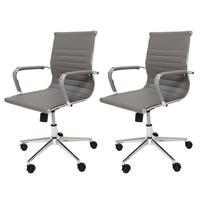 Kit 2 Cadeiras De Escritório Stripes Diretor Ergonômica Charles Eames Eiffel Esteirinha Cinza