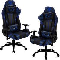 Kit 02 Cadeiras Gamer Office Giratória Com Elevação A Gás Bc3 Camuflado Azul Admiral - Thunderx3