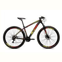 Bicicleta Alumínio Aro 29 Ksw 24 Velocidades Freio A Disco Krw16 - 17´´ - Preto/amarelo E Vermelho